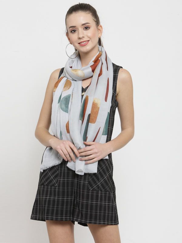 Women Grey Center Printed Stole