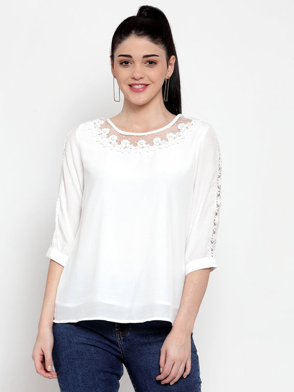 Women White Crape Blouse With Lace Detail