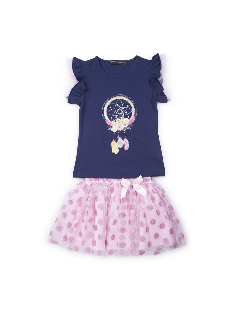 Kids Navy Blue And Pink Set Of Top And Skirt