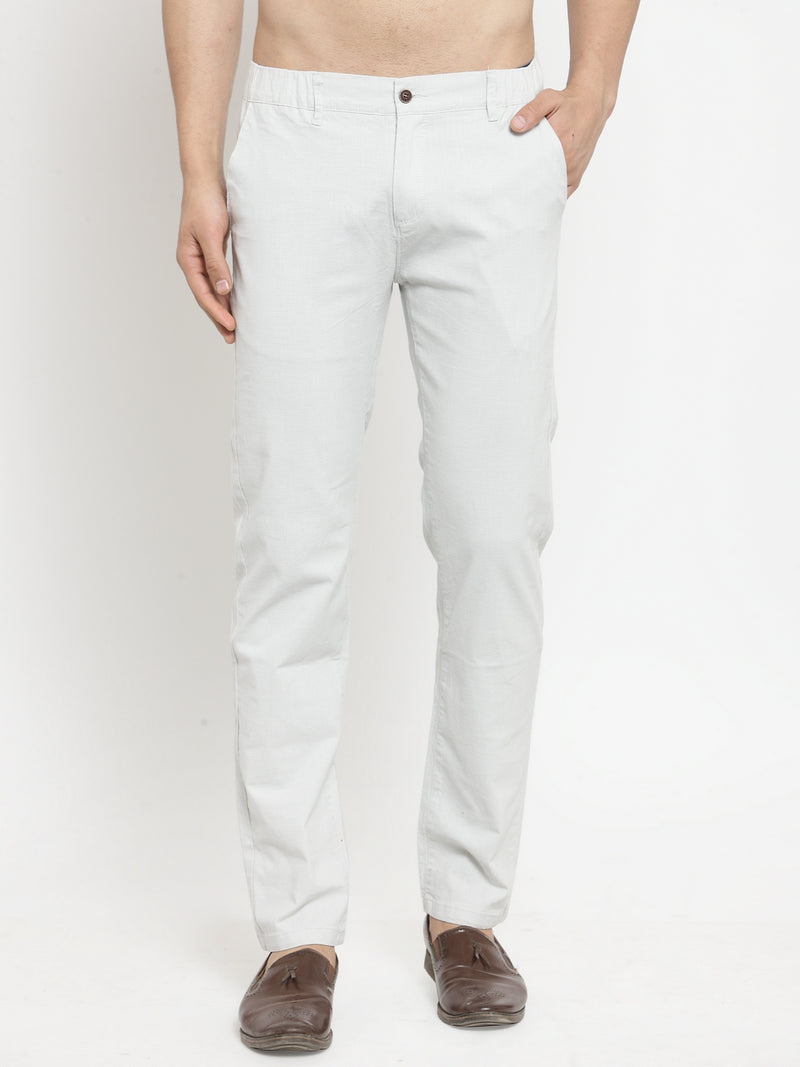 Mens Grey Cotton Linen Soild Trousers