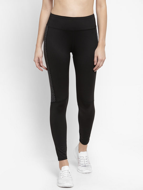 Women Solid Black Polyester Dri Fit Tights