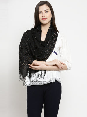 Women Black Printed  Regular Fit Stole