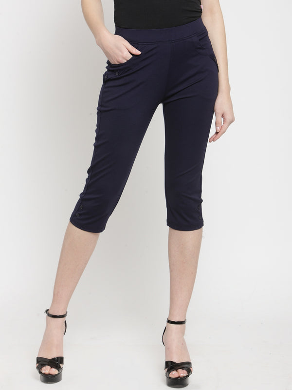Women Skinny Fitted Navy Blue Solid Capri