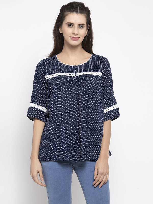 Women Blue Polka Dot Printed Round Neck Top
