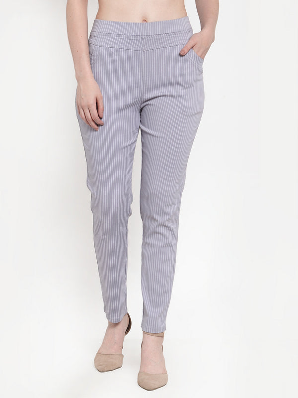 Women Grey Polyester Striped Jegging