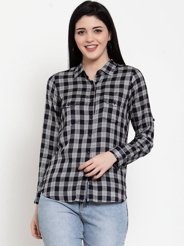 Women Navy Blue Modal Shirt Collar  Shirt