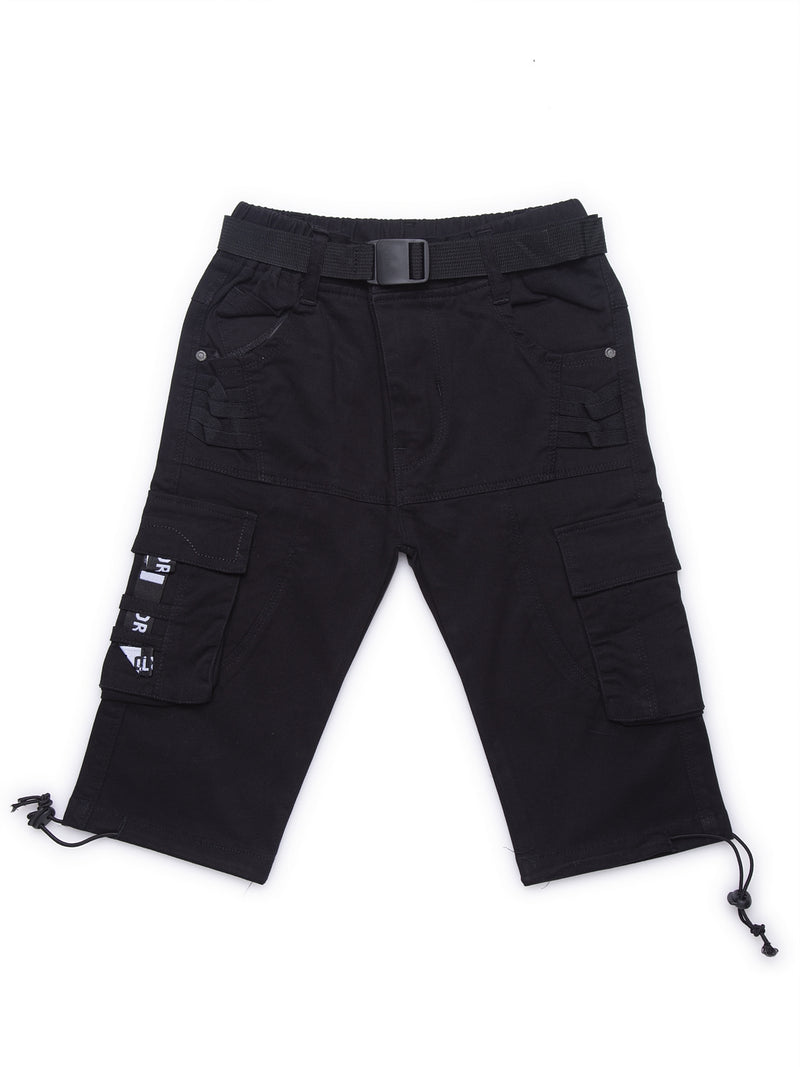 Kids Black Cargo Capri With Relaxed Fit