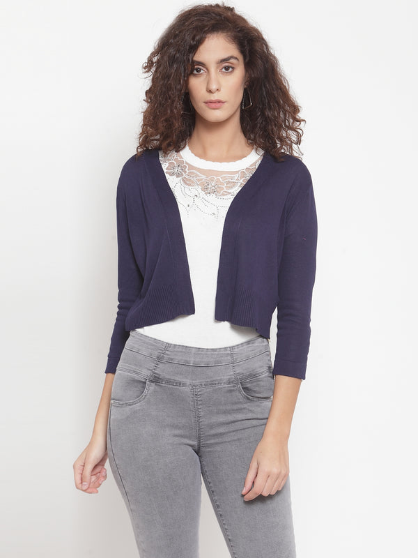 Women Solid Navy Blue Shrug