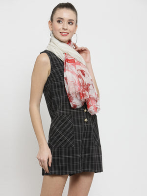 Women Red Checked  Regular Fit Stole