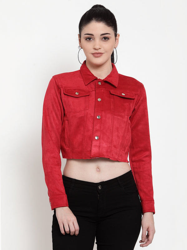 Women Red Sweet Solid Jacket