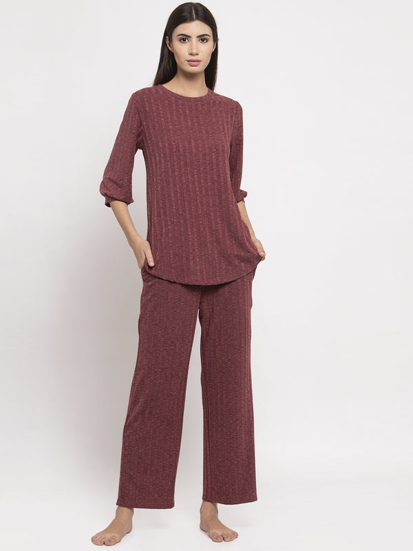 Women Maroon Solid Round Neck Night Suit