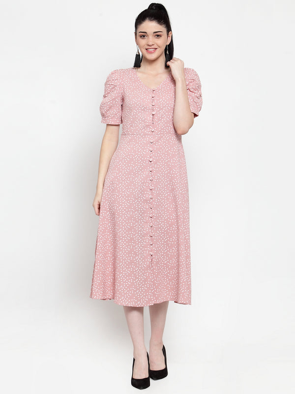 Women Pink Polka Dots A-Line Dress