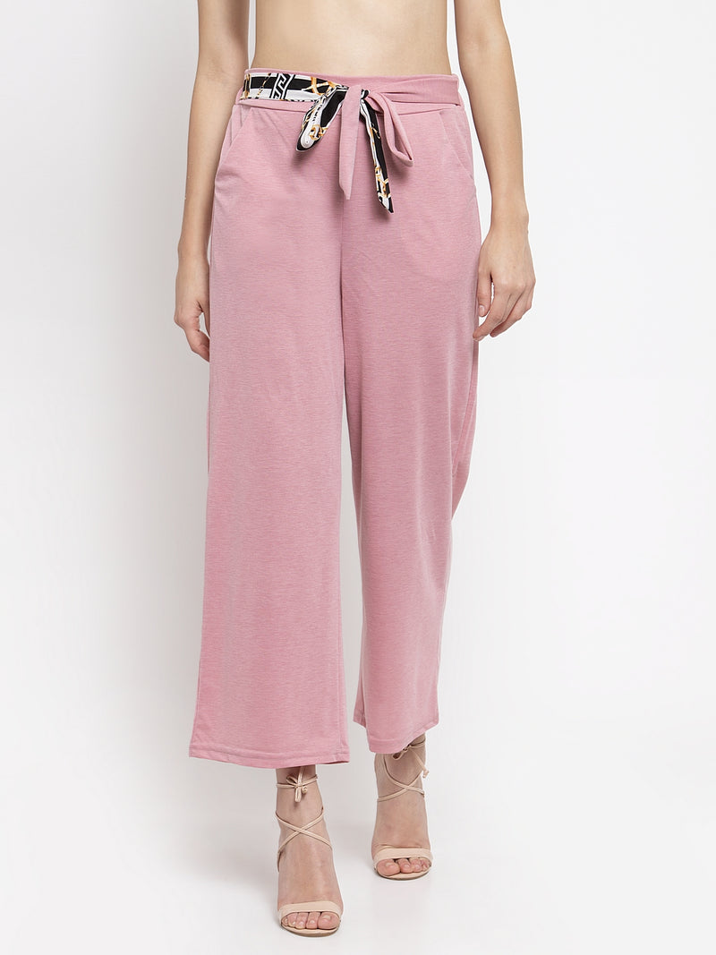 Women Solid Pink Plazo With Scarf Belt