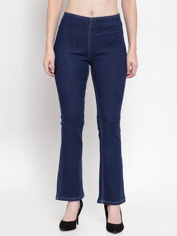 Women D Blue Denim Solid Jegging