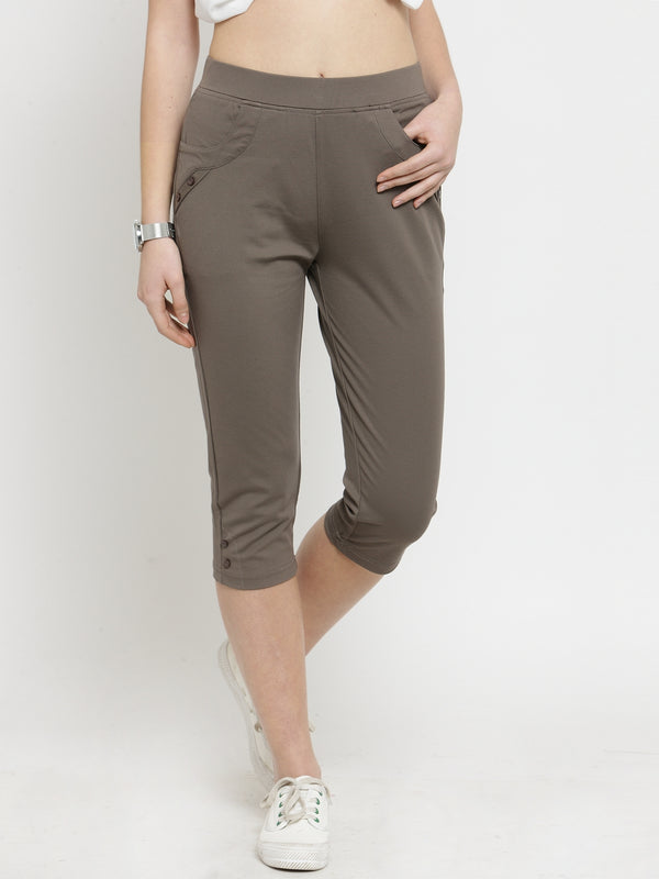 Women Skinny Fitted Khaki Brown Solid Capri