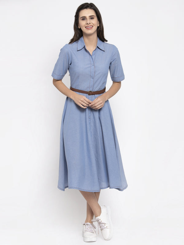 Women Solid Blue Shirt Collar Dress