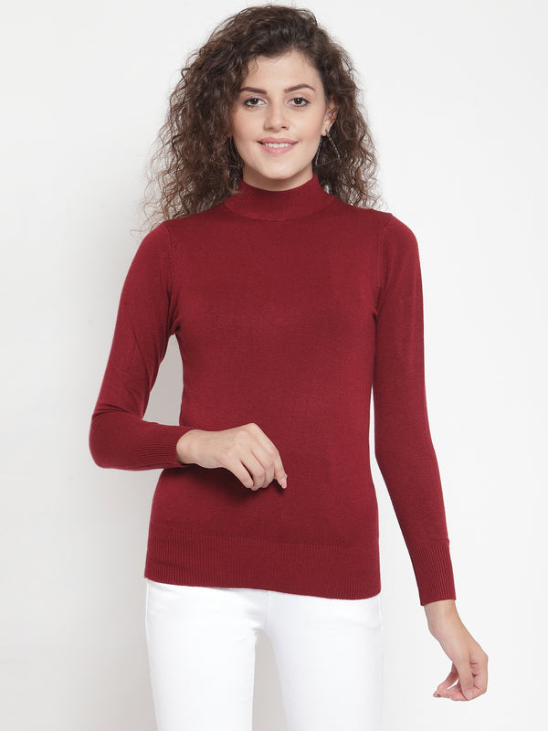 Women Maroon Turtle Neck Full Sleeve Skeevi Pullover