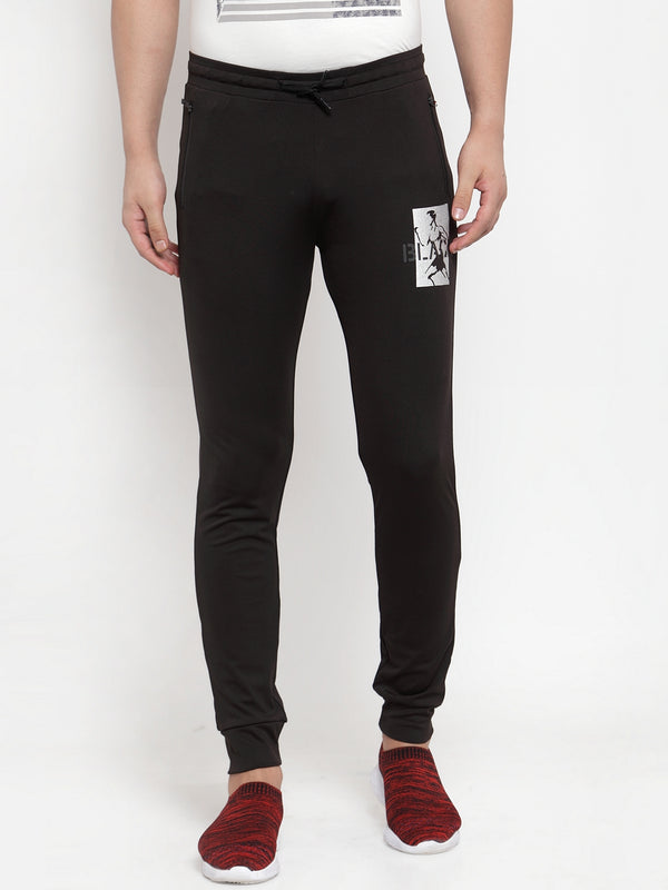 Mens Solid Black Polyester Joggers