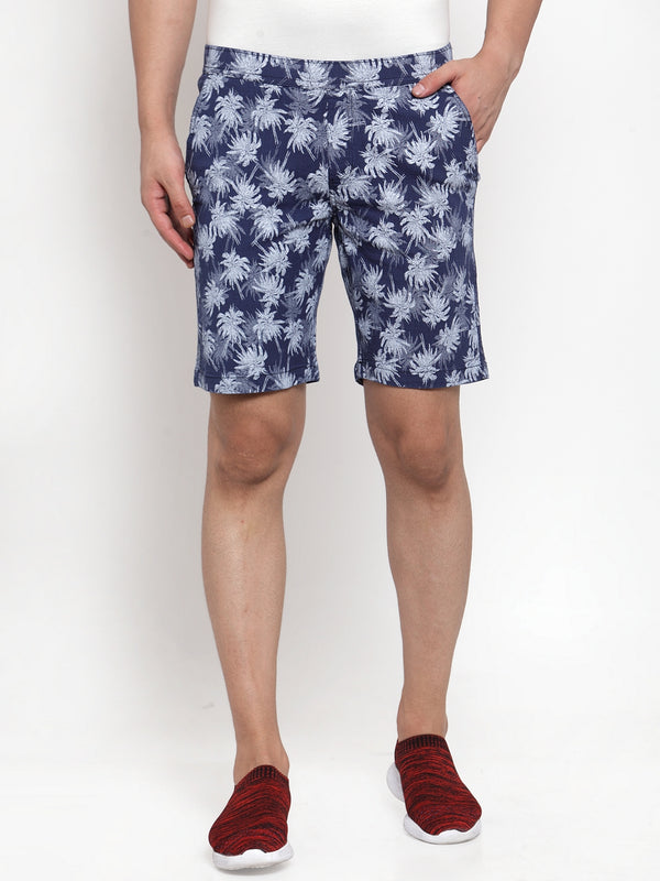 Mens Printed Navy Blue And Plain Sky Blue Combo Of 2 Shorts