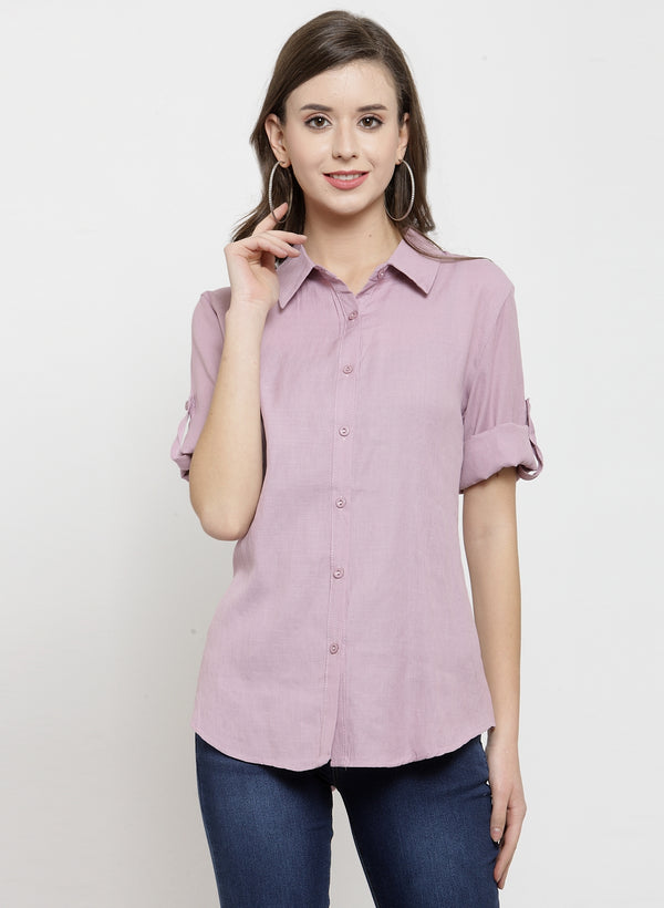 Women Solid Cotton Shirt