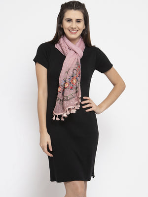 Women Printed Pink Cotton Stole