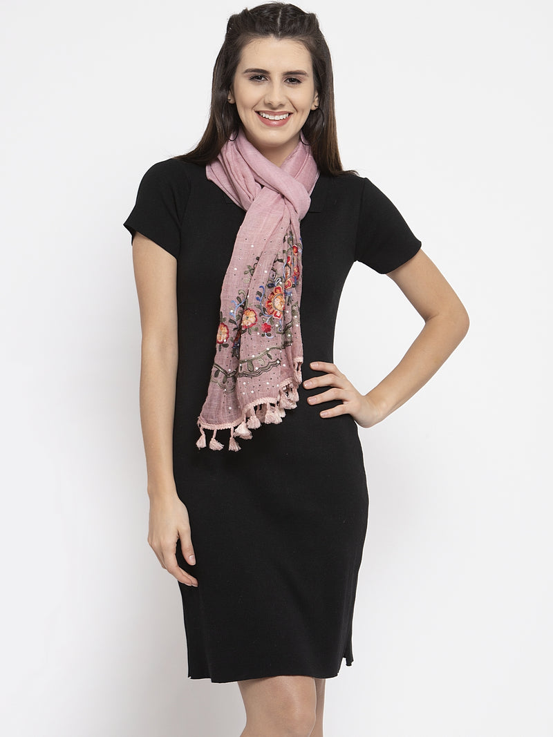 Women Embroidered Pink Cotton Stole