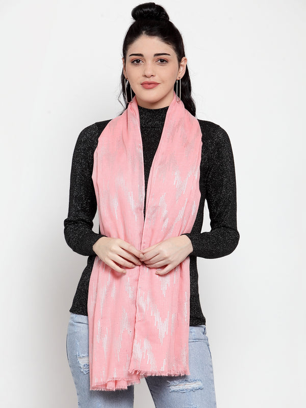 Women Pink Polyster Foil Printed Stole
