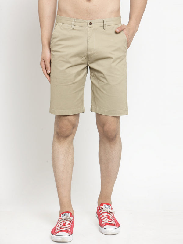 Men'S Solid Khaki Shorts
