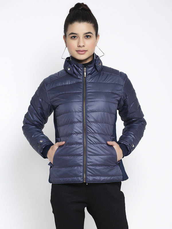 Women Navy Blue T- Neck Solid Jacket