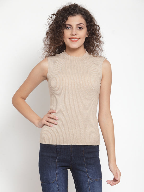 Women Beige Silver Knitted Sleeveless Skeevi Pullover