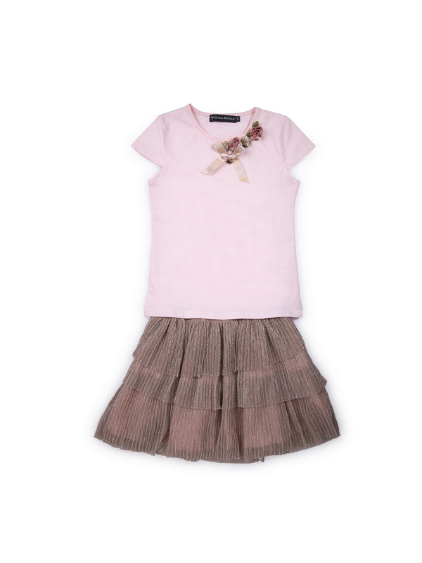 Kids Rose Gold And Pink Set Of Top And Skirt
