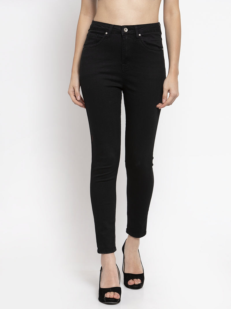Women Solid Black Denim Jeans