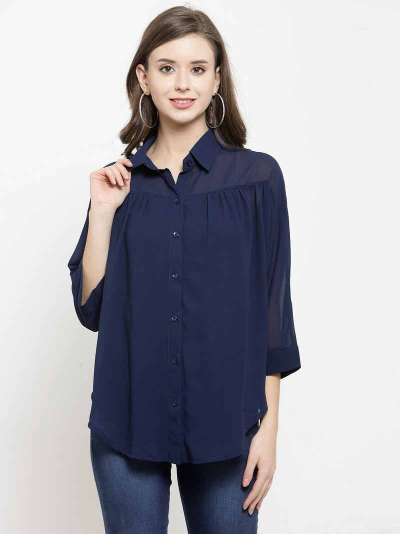 Women Solid Navy Blue Georgette Shirt