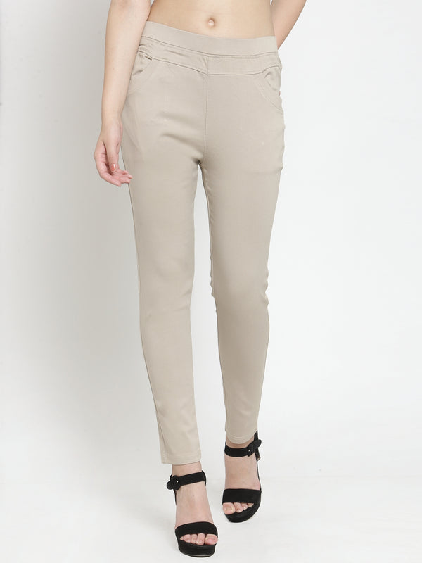 Women Plain Camel Mid-Rise Jegging