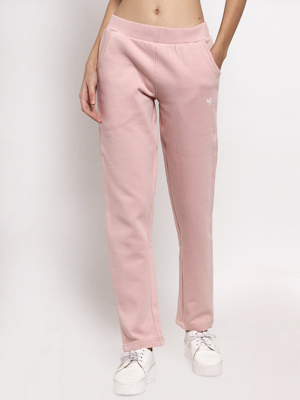 Women Pink Solid Lower with Fleece