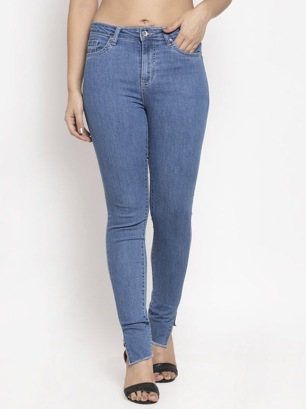 Women Blue Solid Jeans