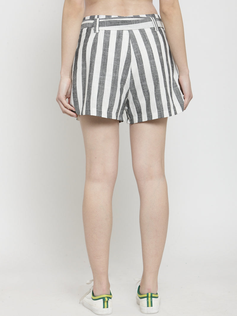 Women Black  Striped Regular Fit Shorts