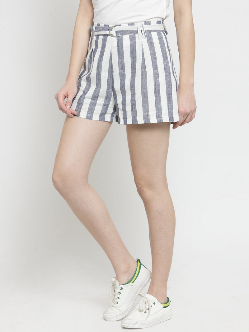 Women Blue Striped Regular Fit Shorts
