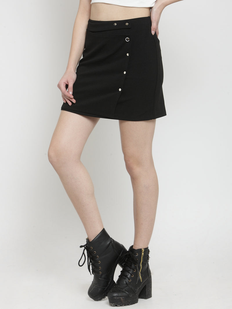 Women Solid Black Polyester Mini Skirt