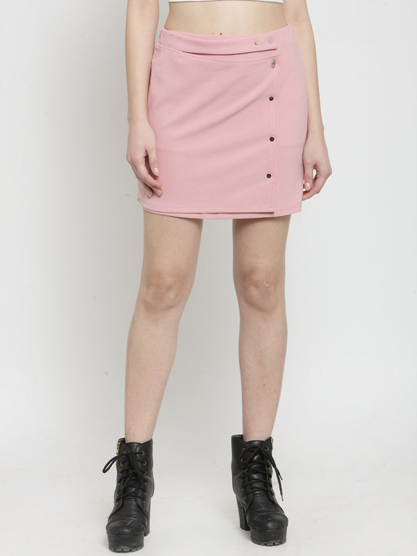 Women Solid Pink Polyester Mini Skirt