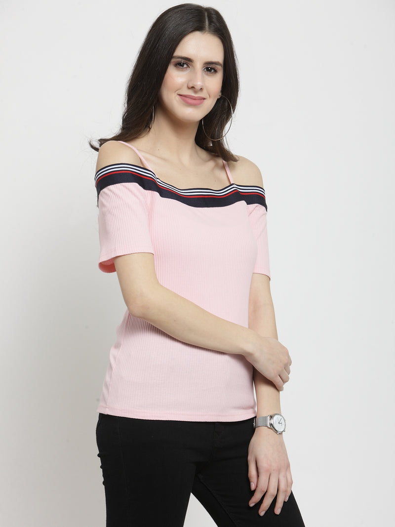 Women Pink Solid Off Shoulder Regular Fit Tops