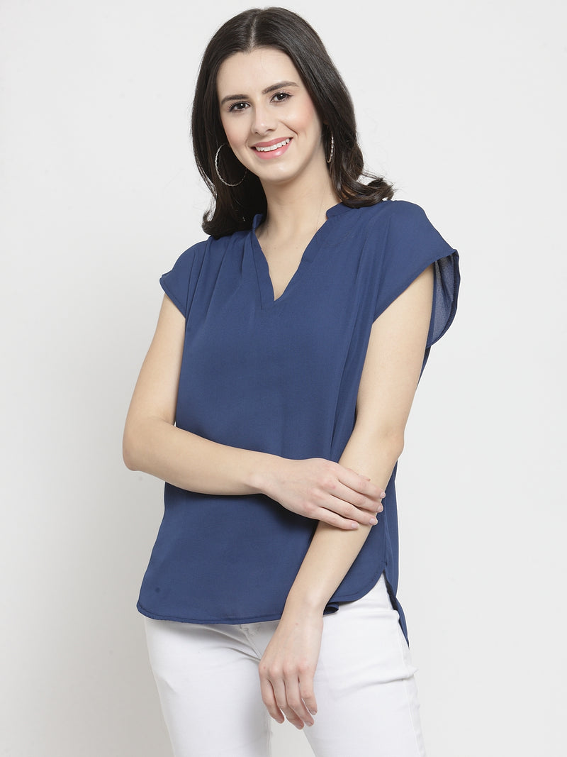 Women Navy Blue Solid V Neck Relaxed Fit Top