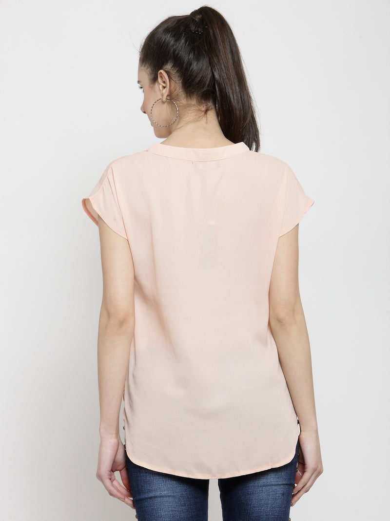 Women Peach Solid V Neck Relaxed Fit Top