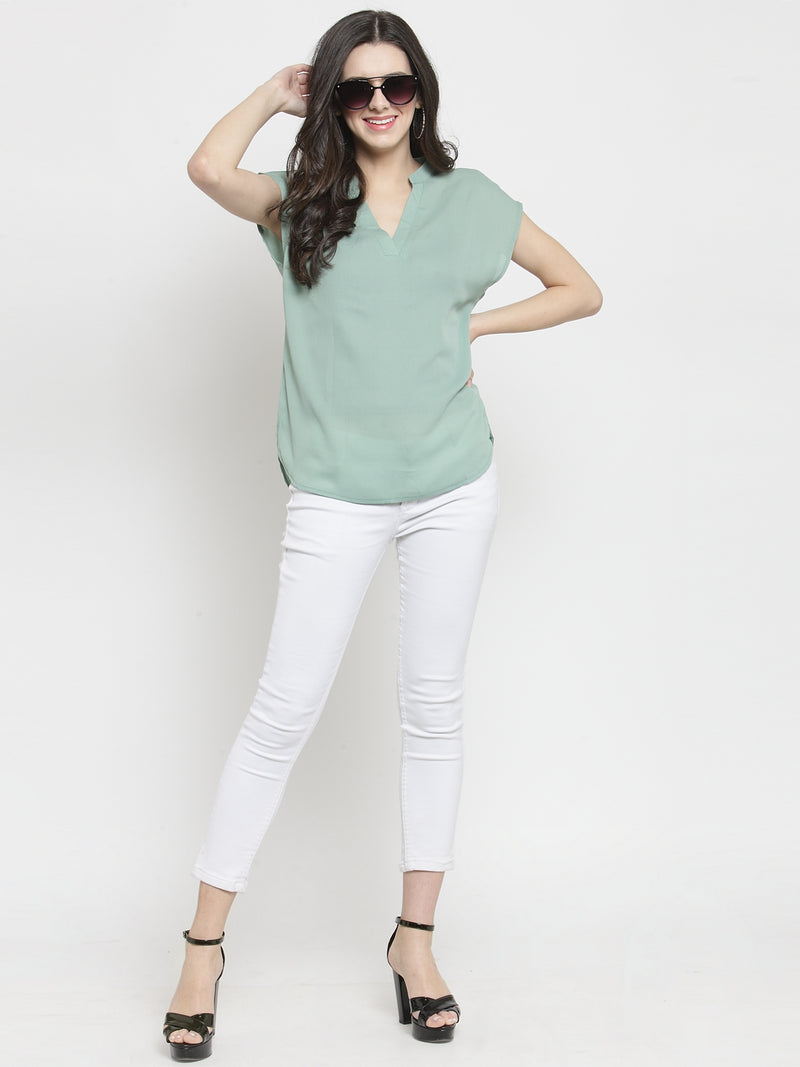 Women Mint Green Solid V Neck Relaxed Fit Top