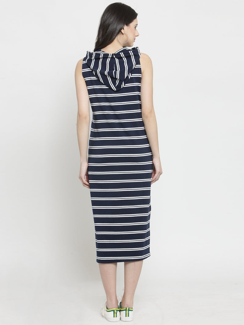 Women Blue Striped Stright Fitted Dress With Hood