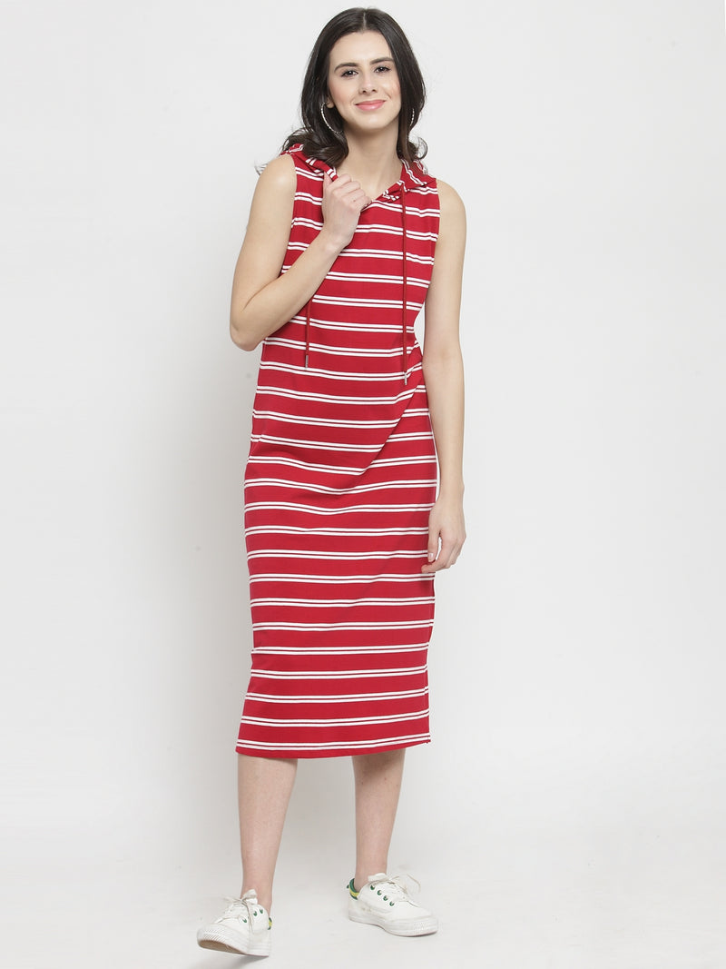 Women Red Striped Stright Fitted Dress With Hood