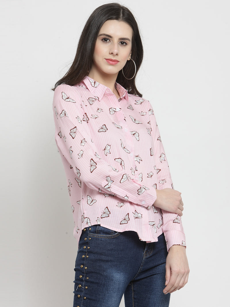 Women Printed Pink Full Sleeved Shirt