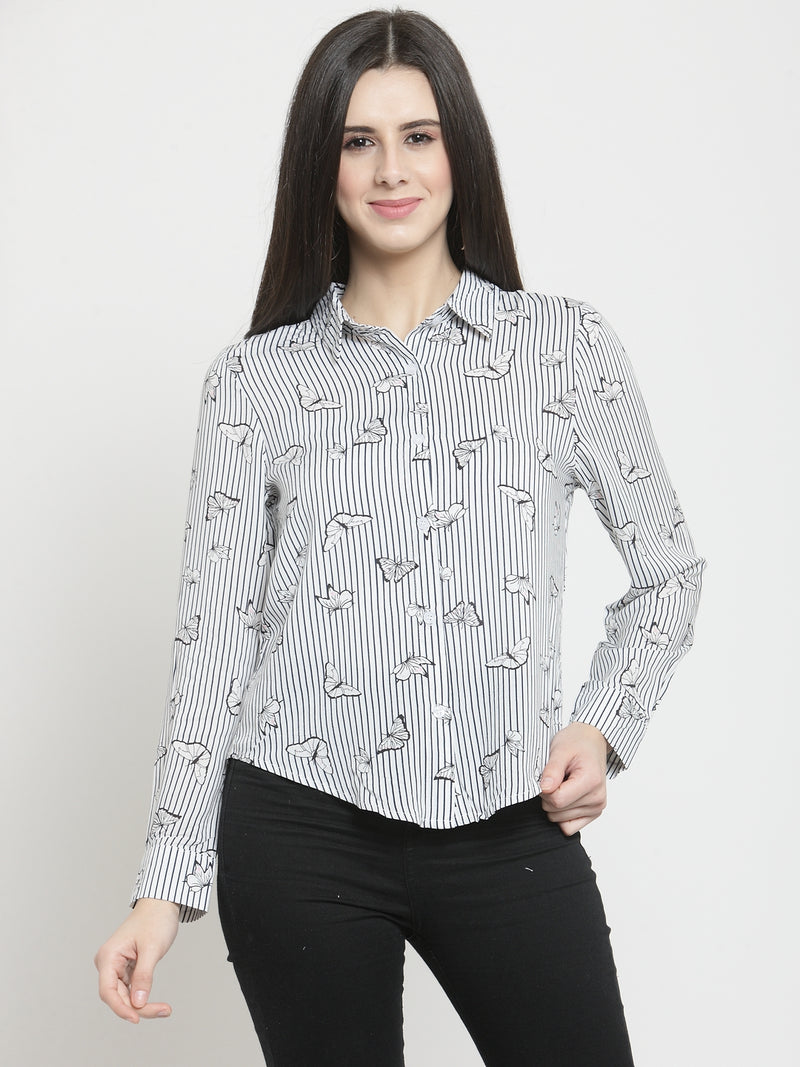 Women Printed White Full Sleeved Shirt