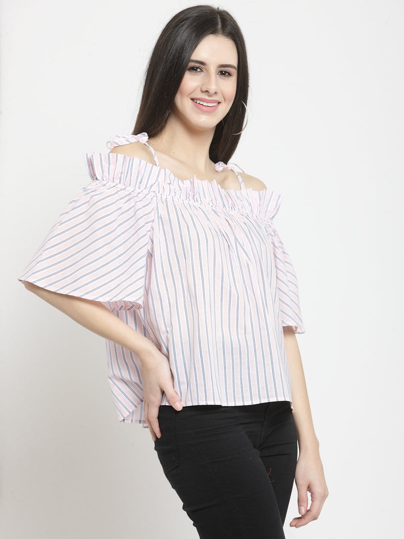 Women Pink Striped Off Shoulder Regular Fit Tops