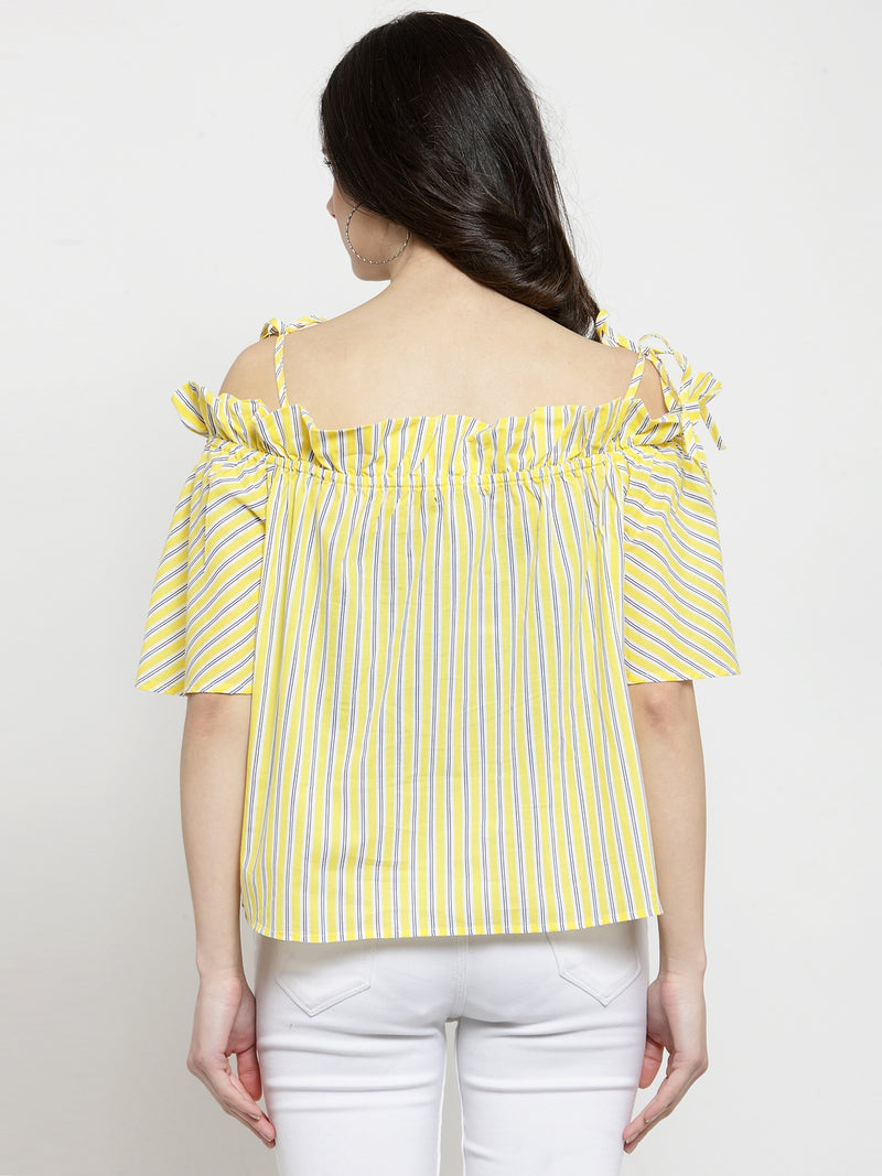 Women Yellow Striped Off Shoulder Regular Fit Tops